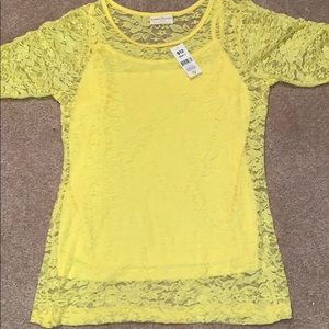 NWT Yellow lacy top